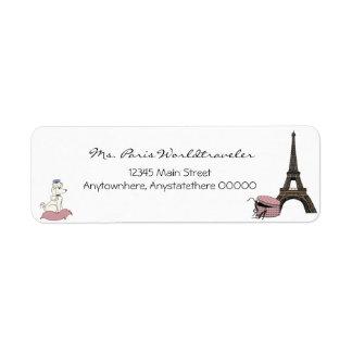Pink Evening in Paris Eiffel Tower Address Label