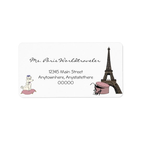 Pink Evening in Paris Eiffel Tower Address Label