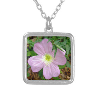 Pink evening primrose wild flower silver plated necklace