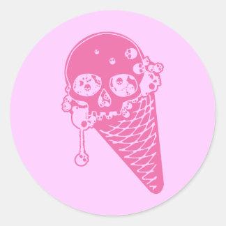 Pink Evil Ice Cream Classic Round Sticker