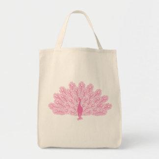 Pink Evil Peacock Grocery Tote Bag