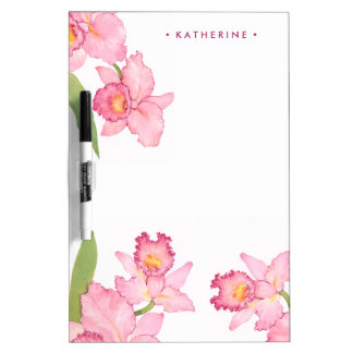 Pink Exotic Watercolor Flowers Dry Erase Board