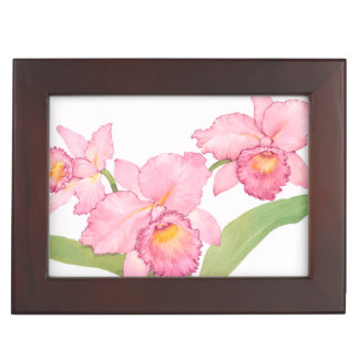 Pink Exotic Watercolor Flowers Memory Boxes