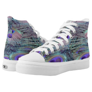 pink eye peacock feathers high tops