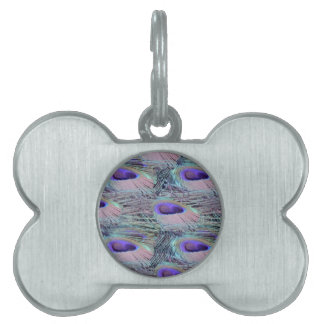 pink eye peacock feathers pet tag