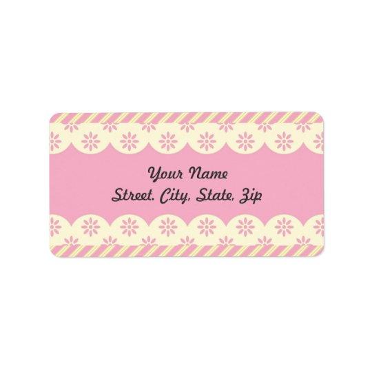 Pink  Eyelet Background Address Sticker Address Label