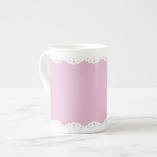 Pink Eyelet Trim Bone China Mug
