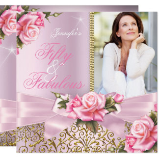 Pink Fabulous 50 Rose Bow Photo Birthday Party Card