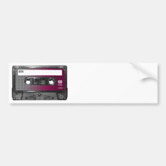 Pink Fade Houndstooth Label Cassette Bumper Stickers