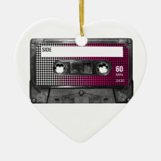 Pink Fade Houndstooth Label Cassette Christmas Tree Ornaments