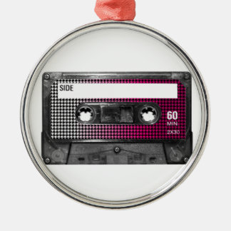 Pink Fade Houndstooth Label Cassette Silver-Colored Round Decoration