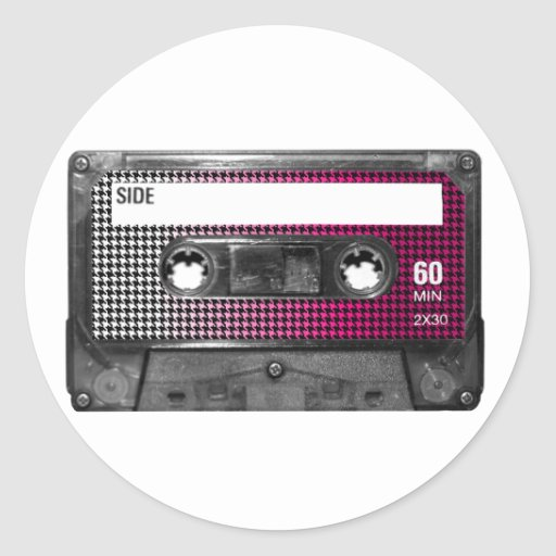 Pink Fade Houndstooth Label Cassette Round Stickers