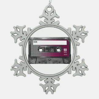 Pink Fade Label Houndstooth Cassette Pewter Snowflake Decoration
