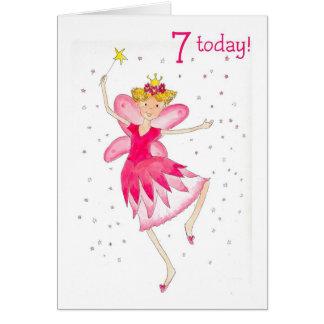 Pink Fairy 7th Birthday Card