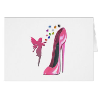 Pink Fairy and Stiletto Shoe with 3D Hearts Greeting Card