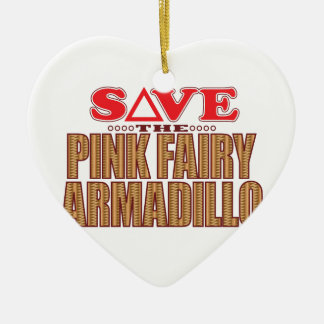 Pink Fairy Armadillo Save Ceramic Heart Decoration