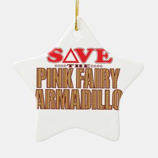 Pink Fairy Armadillo Save Ceramic Star Decoration