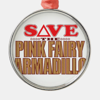 Pink Fairy Armadillo Save Silver-Colored Round Decoration