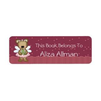 Pink Fairy Bear Bookplate Label Return Address Label