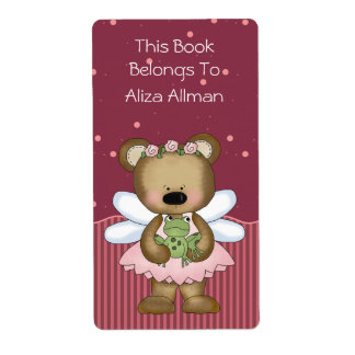Pink Fairy Bear Bookplate Label Shipping Label