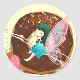 Pink Fairy Girl On a Donut Stickers