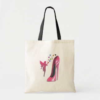 Pink Fairy Hearts and Stiletto Shoe Art Budget Tote Bag