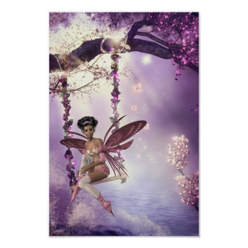 Pink Fairy Swing Poster