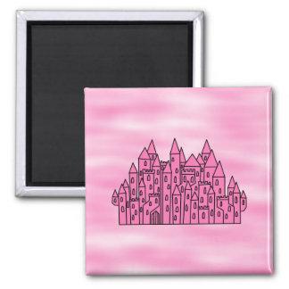 Pink Fairytale Castle Square Magnet