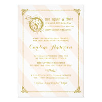 Pink Fairytale Princess Glitter Baby Shower Invite