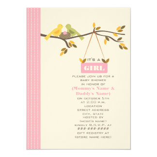 Pink Fall Baby Shower Mommy & Daddy Birds & Nest 14 Cm X 19 Cm Invitation Card
