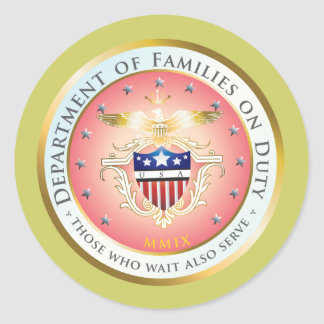 Pink Families on Duty Seal Round Sticker