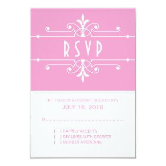 Pink Fancy Ornamental Response Card 9 Cm X 13 Cm Invitation Card