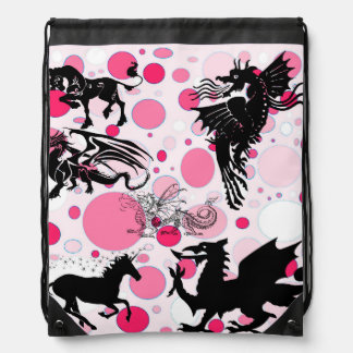 Pink Fantasy Drawstring Bag