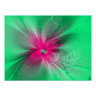Pink fantasy flower on green, poster