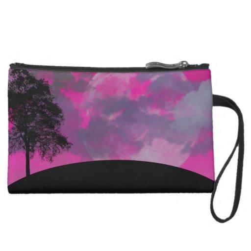 Pink fantasy moon, clouds & black tree silhouette wristlet purse