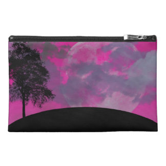 Pink fantasy moon, clouds & black tree silhouette travel accessories bag
