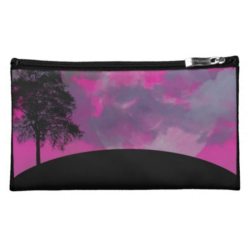 Pink fantasy moon, clouds & black tree silhouette cosmetic bags