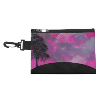 Pink fantasy moon, clouds & black tree silhouette accessories bag