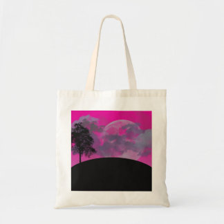 Pink fantasy moon, clouds & black tree silhouette budget tote bag