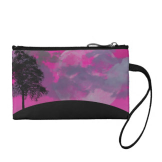 Pink fantasy moon, clouds & black tree silhouette coin wallet