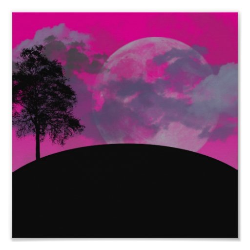 Pink fantasy moon, clouds & black tree silhouette posters