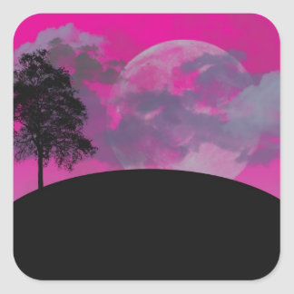 Pink fantasy moon, clouds & black tree silhouette square sticker