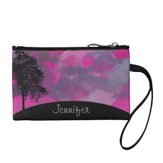 Pink fantasy moon, clouds & tree custom girls name coin purse