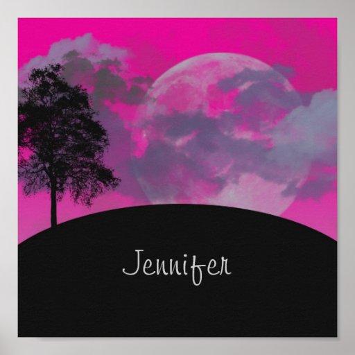 Pink fantasy moon, clouds & tree custom girls name poster