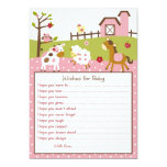 Pink Farm Animal Baby Girl Wishes for Baby Card Personalized Invitation