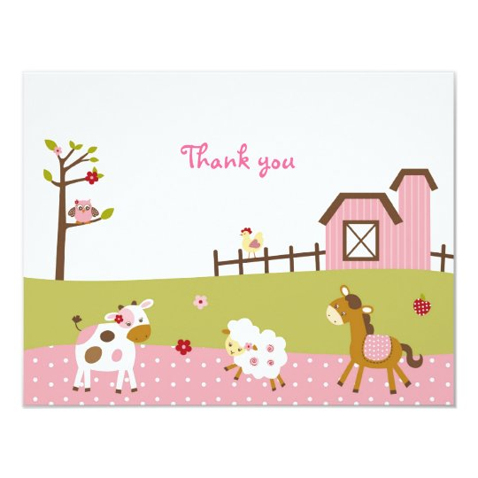 Pink Farm Animal Girls Thank You Note Cards
