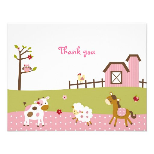 Pink Farm Animal Girls Thank You Note Cards Personalised Announcement