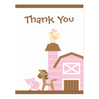 Pink farm animals girl s thank you post card