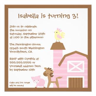 Pink farm animals girl's birthday party invitation