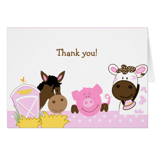 Pink Farm Babies Folded Thank you notes